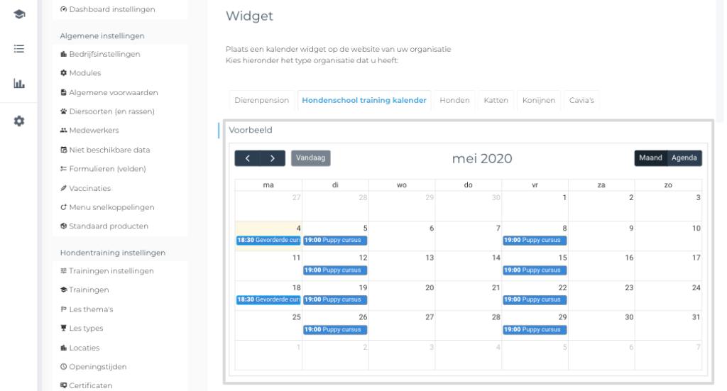 KennelCare hondenscholen kalender widget